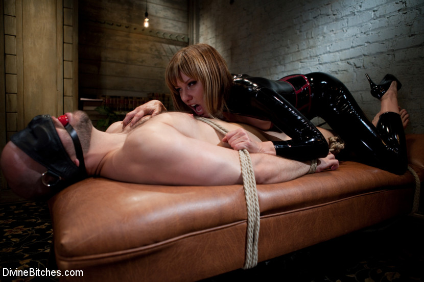 Guy dominated by girl in bondage