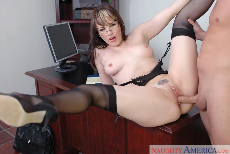 Office Babe In Honey Stockings
