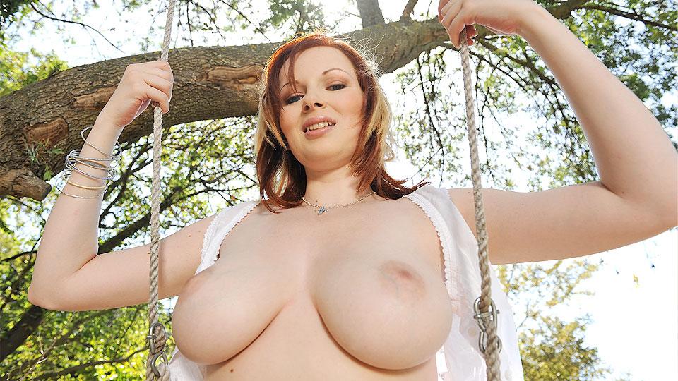 Laying down big tits