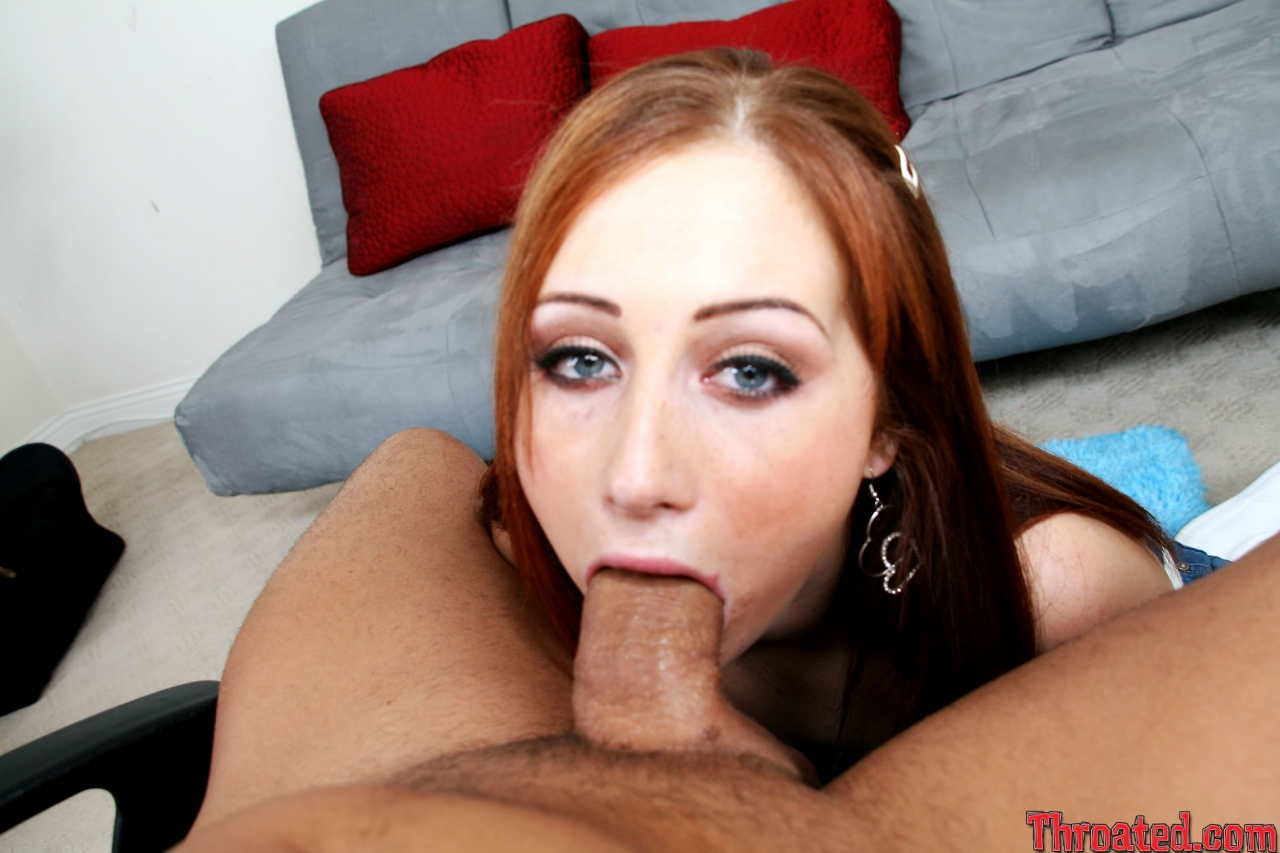 Redhead chick cameron love gives good blowjob to her fuck buddy before riding his erect meat pole